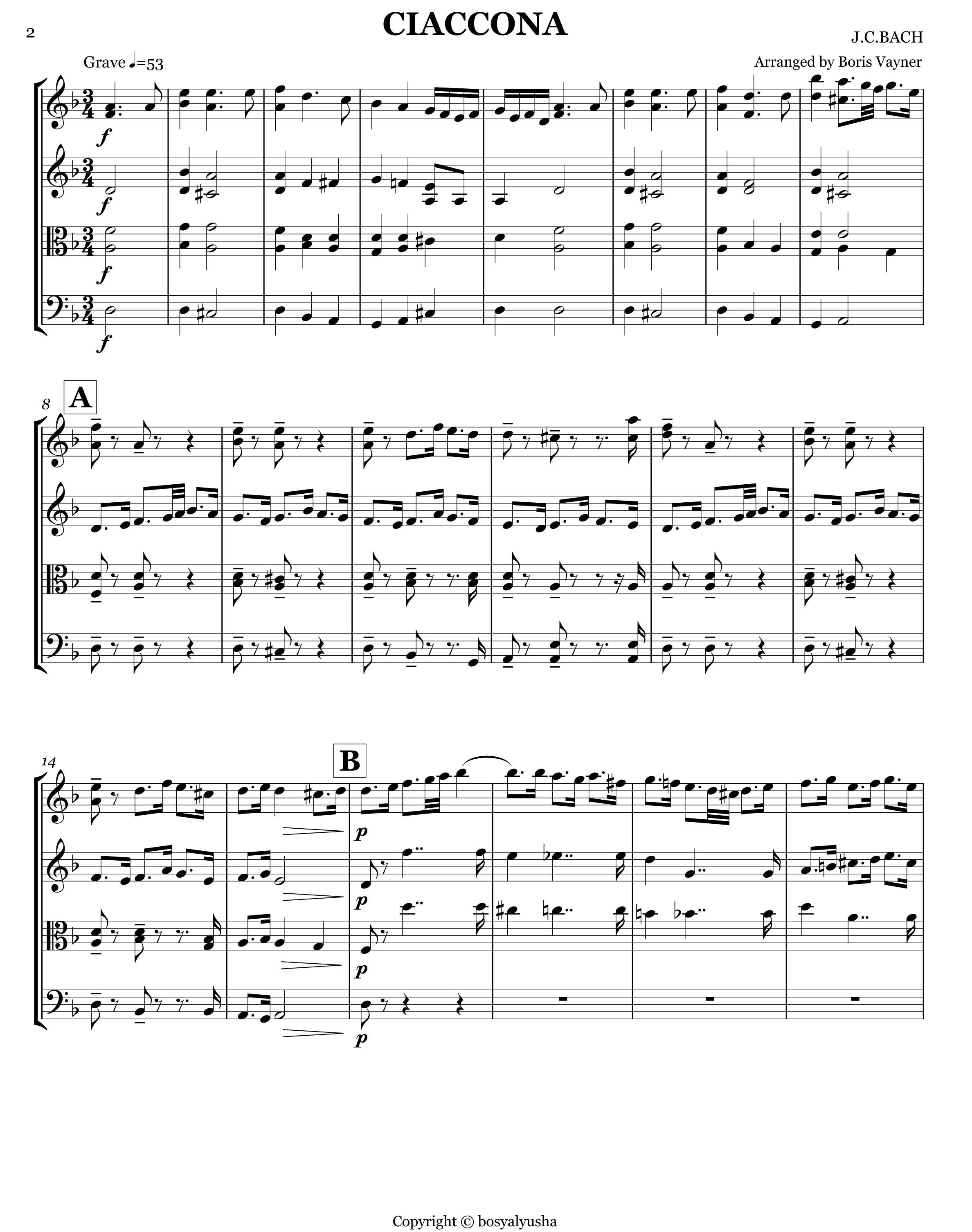 Bach Ciaccona, score